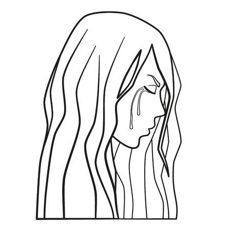 Vettore di donna piangente. Ragazza teenager triste del giovane grido nella depressione. Violenza domestica, abuso domestico, violenza familiare, line art