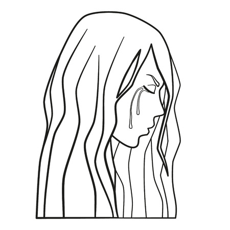 Weeping woman vector. Sad young cry teen girl in depression. Domestic violence, domestic abuse, family violence, line art