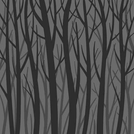 Dark mystical background forest vector flat illustration. Trees silhouette, darkness. Creepy forest Illustration