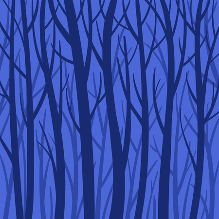 Blue mystical background forest vector flat illustration. Trees silhouette, darkness