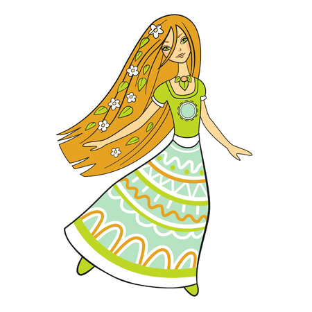 Forest woman dancing in a long dress, isolated vector. Beautiful image of nature. Hippie girl with flowers in her hair Illustration