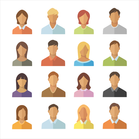 Flache Ikonen der Leute eingestellt. Männer und Frauen unterschiedlicher Nationalität unterzeichnen Sammlung. Isoliertes Symbol für anonyme Benutzer