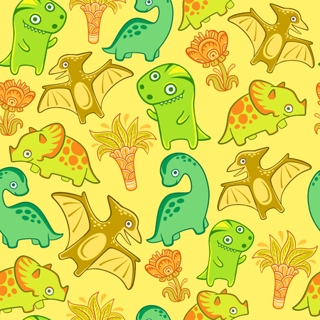 Cute dino set, vector seamless pattern. Funny dinosaurs for nursery. Tyrannosaur pterodactyl triceratops diplodocus. Print for fabric, bed linen, wallpaper Vectores