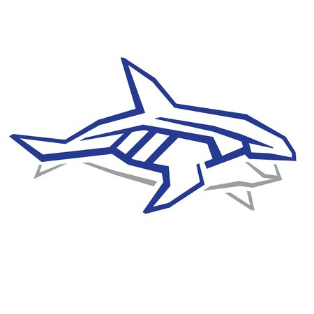 Killer whale graphic sign, isolated vector. Blue symbol of aggressive marine animal, schematic drawing, angular lines.