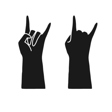 That rocks or horns gesture, hand black silhouette Vectores