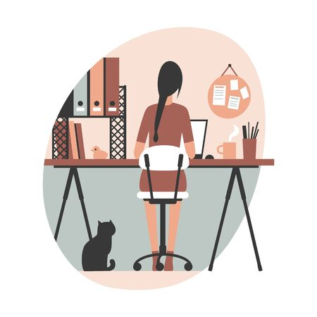 Woman freelancer, graphic designer working from home sitting at her desk with laptop. Modern flat vector illustration.