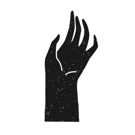 Silhouette of relaxed soft palm hand, black isolated vector. Graphic element design. Vectores