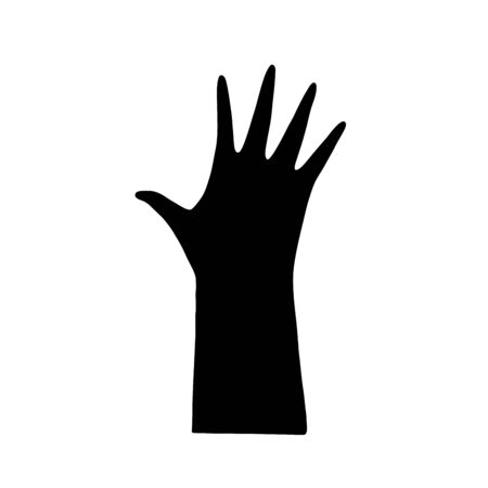 Silhouette of palm hand with five fingers, black isolated vector. Graphic element design.