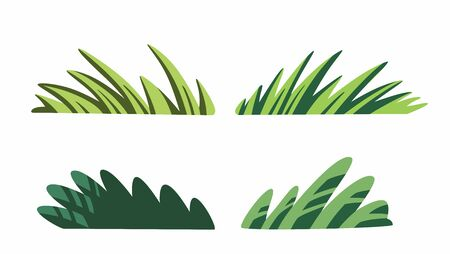 Cute cartoon grass isolated on white background vector. Decorative nice plant clip art, stock flat style clip art illustration for children fairy tale book.