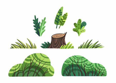 Cute cartoon plants clip art set isolated on white vector. Bushes, leaves and stump clipart stock flat illustration.