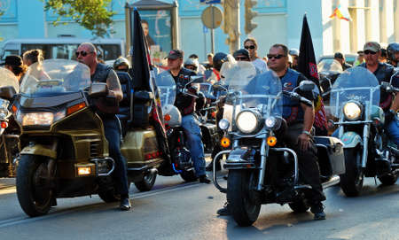 Rostov, Russia, September 19, 2015. City day. A column of bikers on the Central street of the city is preparing for a solemn passage Editorial use only Editorial