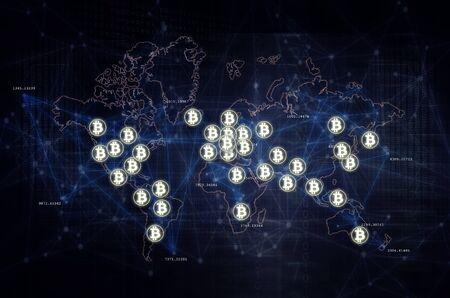 Bitcoin and blockchain worldwide adoption abstract illustration