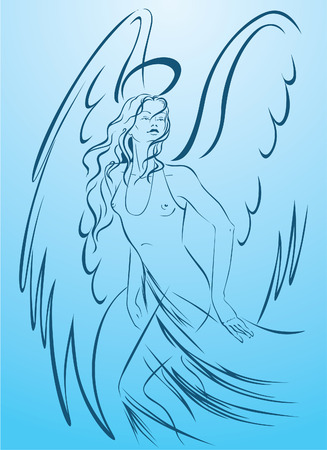 Beautiful woman angel in a light dress with halo on the blue background Vector