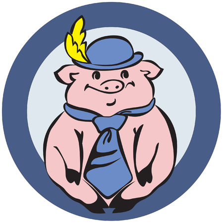 mister: Cute mister Pig with hat and tie