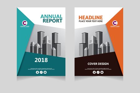 Jaarverslag, pamflet, presentatie, brochure. Voorpagina, lay-outontwerp voor boekomslag. Ontwerpsjabloon omslag.