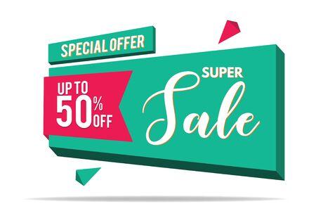 Super Sale Banner Template. Sale Banner Design. Abstract Sale Banner. 向量圖像