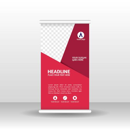 Roll up banner design brochure flyer vertical template, vector x-banner and street business flag-banner, cover presentation abstract geometric background vertical layout.