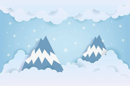 Illustration of nature landscape with cloud and mountain in winter season. Paper art style.