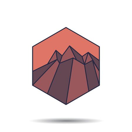 Volcano Logo Template. Mountain Logotype Isolated. Mountain Vector Illustration. Ilustrace