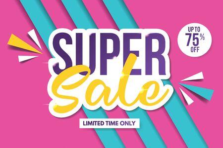 Super Sale-Banner-Vorlage. Verkauf-Banner-Design. Abstrakte Verkaufsfahne.