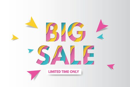 Big sale banner template design. Banner design with paper cut background. Paper art and craft style.