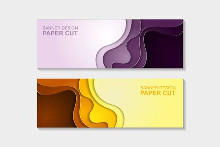 Set of horizontal banners in paper cut style. Banner design with abstract background. Paper cut vector illustration for banner, presentation, and invitation.