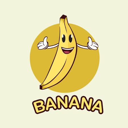 Banana mascot logo. Banana vector illustration Çizim