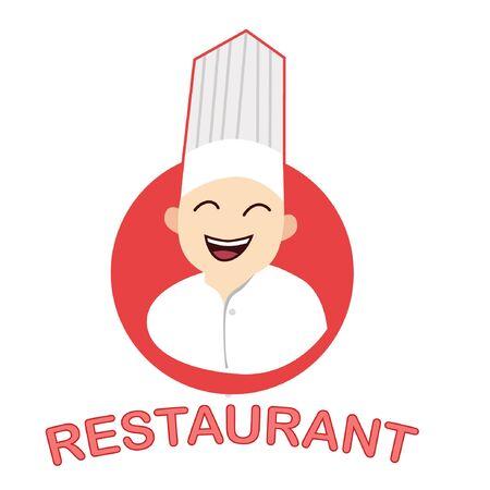 Restaurant mascot logo. Restaurant logo. Chef mascot logo. Çizim