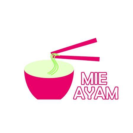 Noodle logo design with unique illustration. Noodle logo isolated