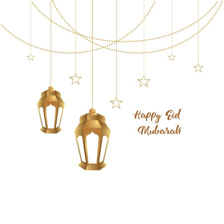 Ramadan mubarak background. Happy eid mubarak greeting card design with lantern vector illustration. Lantern realistic illustration. Lantern illustration with golden color.