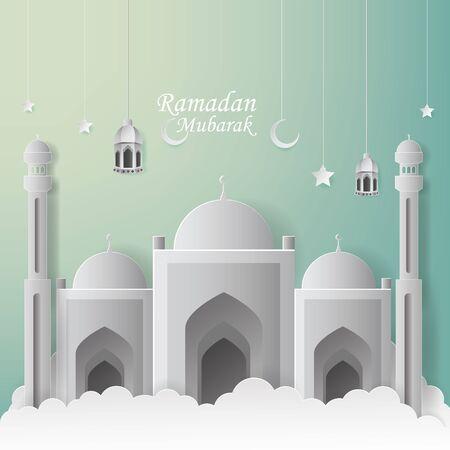 Ramadan Mubarak Greeting Card design with mosque and lantern vector Illustration. Ramadan Mubarak Greeting Card Background. Mosque Illustration. Paper art and craft style. Ramadan Kareem.