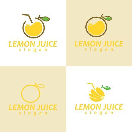 Juice Logo. Set of Juice Logo. Lemon Juice Logo Design. Çizim