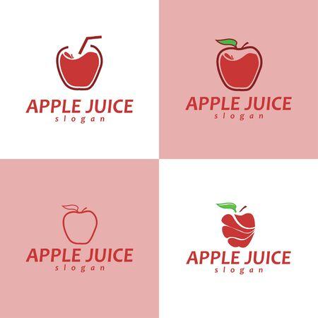 Juice Logo. Set of Juice Logo. Apple Juice Logo Design.