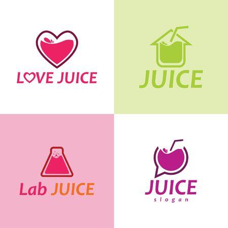 Juice Logo. Set of Juice Logo. Laboratory Juice Logo Design.