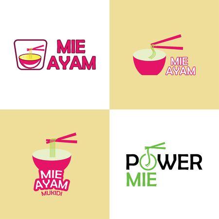 Restaurantembleem. Noodle-logo ontwerp.
