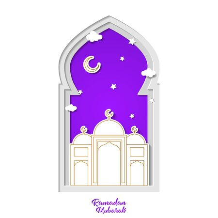 Ramadan kareem greeting card design with mosque and crescent month vector illustration. mosque vector illustration. paper art and craft style