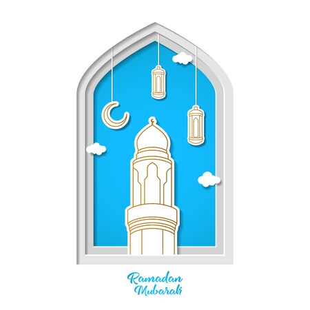Ramadan kareem greeting card design with tower mosque and lantern vector illustration. tower mosque vector illustration. paper art and craft style