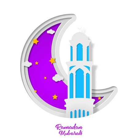 Ramadan kareem greeting card design with tower mosque and crescent month vector illustration. tower mosque vector illustration. paper art and craft style
