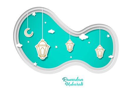 Ramadan kareem greeting card design with lantern and crescent month vector illustration. lantern mosque vector illustration. paper art and craft style