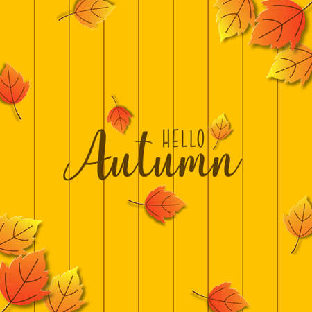 Autumn background design decorated with colorful leaves for web banner, shopping sale, and promo poster. Paper art vector illustration