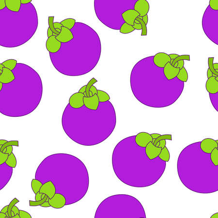 Mangosteen seamless pattern design. Mangosteen fruit pattern background. Fruit seamless pattern isolated.