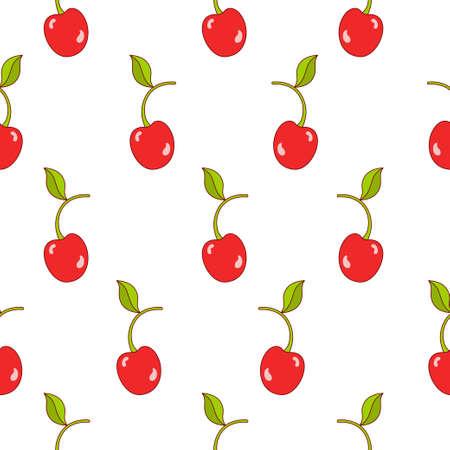 Cherry seamless pattern design. Cherry fruit pattern background. Fruit seamless pattern isolated.