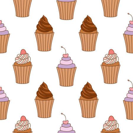 Cupcake seamless pattern design. Cupcake pattern background. Cake seamless pattern isolated.
