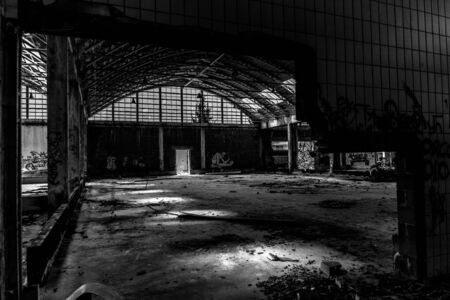 abandoned factory, urban exploration in black and white