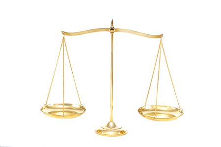 Golden brass balance or imbalance scale isolated on white background. Weight balance, Symbol of law justice, libra, decision