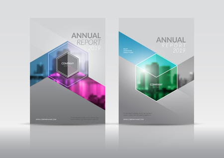 Modello di copertina, copertina del rapporto annuale, flyer, presentazione, brochure. Modello di layout di progettazione della prima pagina con sbavatura in formato A4. Multi colori con modelli di sfondo astratto. Vettoriali