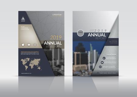 Cover ontwerpsjabloon, jaarlijkse verslagomslag, flyer, presentatie, brochure. Voorpagina ontwerp lay-out sjabloon met afloop in A4-formaat. Multikleuren met abstracte malplaatjes als achtergrond.