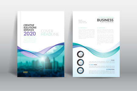 Cover Design template, annual report cover, flyer, presentation, brochure. Front page design layout template with bleed in A4 size. Multi colors with abstract background templates. Illusztráció