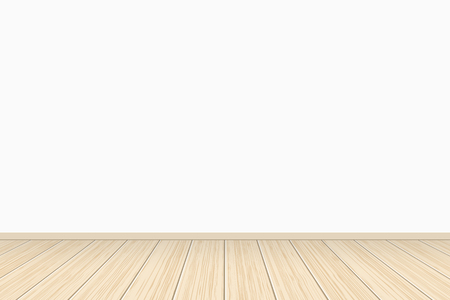 Empty white wall gallery interior with wooden floor. vector illustration
