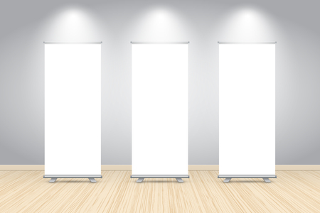 Three blank roll up banner posters display in dark blue wall, Mock up. Vector illustration